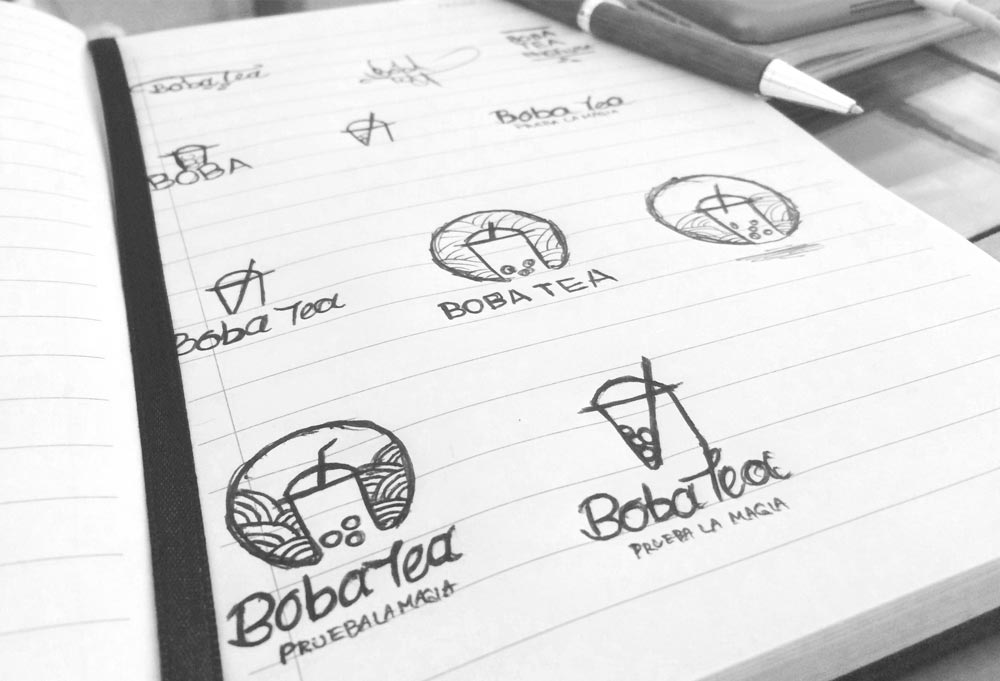 boceto de logotipo boba tea ensenada